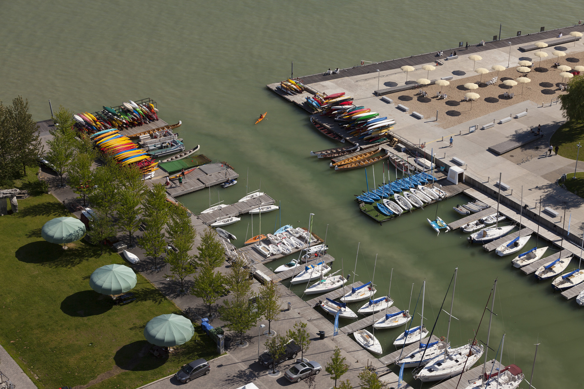cso wastewater in harbour aerial view